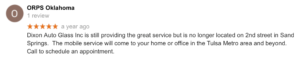 ORPS Oklahoma Dixon Auto Glass Customer review